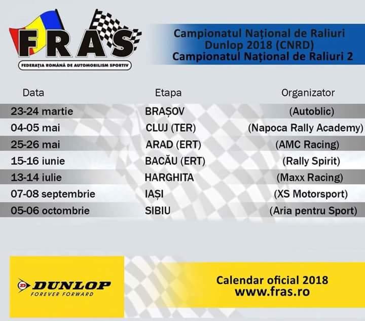 Calendar oficial al C.N. de Raliuri si Rally2