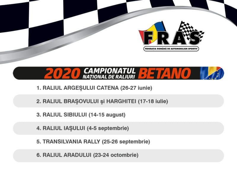 Calendar nou pentru Campionatul National de Raliuri Betano 2020